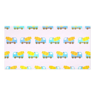 Toy truck pattern personalised photo card