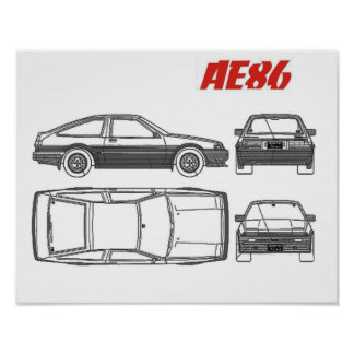 toyota corolla ae86 blue print poster