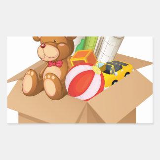 Toys in a box rectangular sticker
