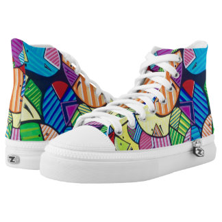"Tquinn original art from ""Happy Cells""paintinq High Tops"