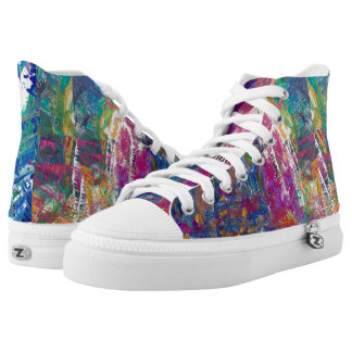 "TQuinn original art ""Universal Mind"" High Tops"