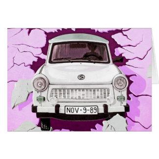 Trabant Car and Pink/Lilac Berlin Wall Card