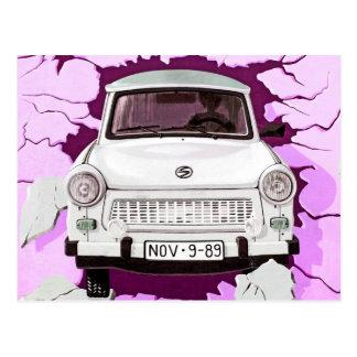 Trabant Car and Pink/Lilac Berlin Wall Postcard