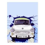 Trabant Car , Pale Blue, Berlin Wall Post Card