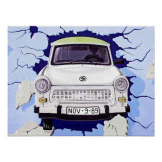 Trabant Car , Pale Blue, Berlin Wall Poster