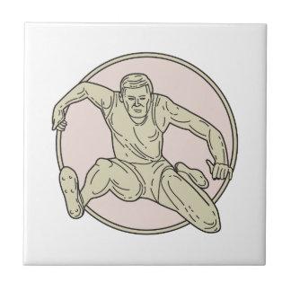 Track and Field Athlete Hurdle Circle Mono Line Ceramic Tile