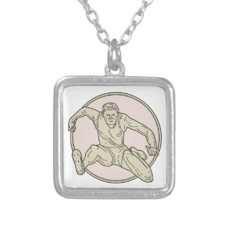 Track and Field Athlete Hurdle Circle Mono Line Silver Plated Necklace