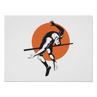 Track and Field Athlete Jumping High Jump Poster
