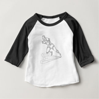 Track and Field Athlete Running Doodle Art Baby T-Shirt