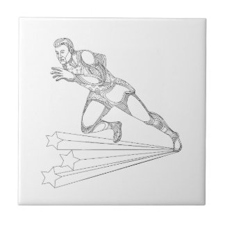 Track and Field Athlete Running Doodle Art Ceramic Tile