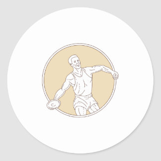 Track and Field Discus Thrower Circle Mono Line Classic Round Sticker