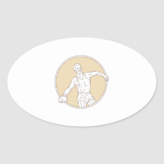 Track and Field Discus Thrower Circle Mono Line Oval Sticker