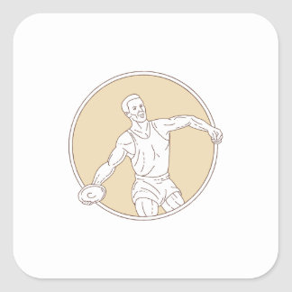 Track and Field Discus Thrower Circle Mono Line Square Sticker