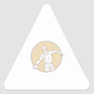 Track and Field Discus Thrower Circle Mono Line Triangle Sticker