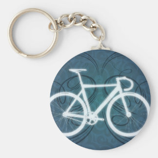 Track Bike - blue tattoo style Key Ring