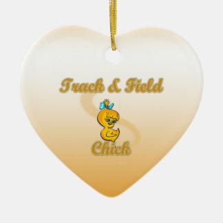 Track & Field Chick Ceramic Ornament