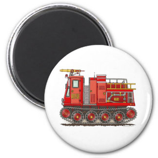 Track Fire Truck Round Magnet