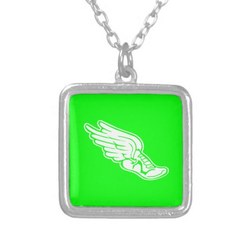 Track Logo Necklace Green
