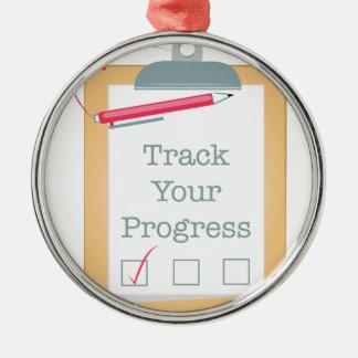 Track Progress Metal Ornament