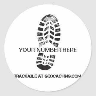 Trackable Boot Print Round Stickers