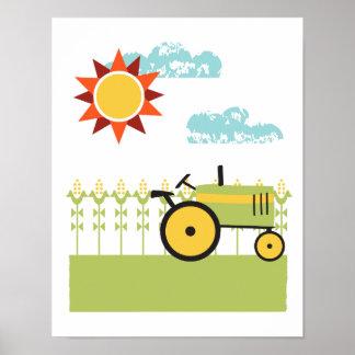Tractor and corn illustration art print