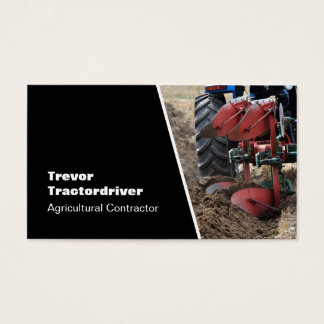 Tractor and plough close-up photo business card