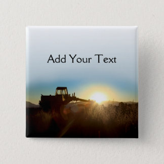 Tractor at Sunrise Button