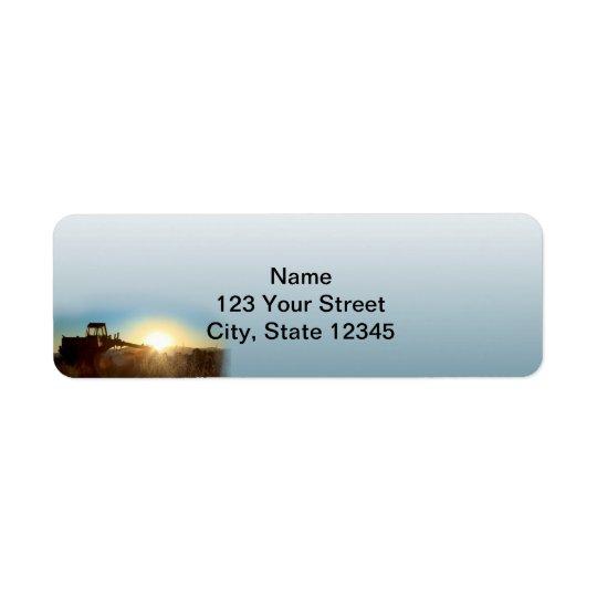 Tractor at Sunrise on a Blue Gradie Return Address Return Address Label