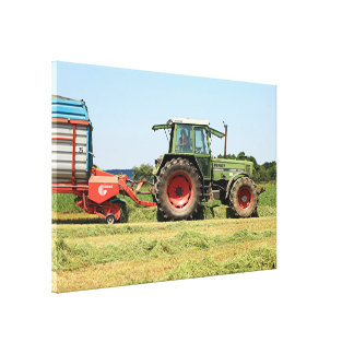 Tractor at work on El Camino, Spain 2 Canvas Print