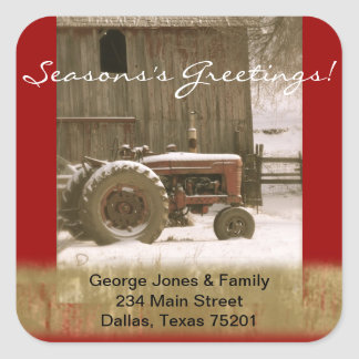 Tractor & Barn Christmas Envelope Seal