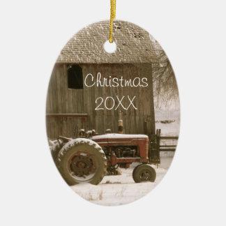 Tractor & Barn Christmas Ornament