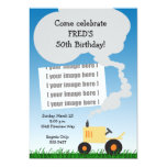 Tractor Birthday Invitation: Yellow Tractor