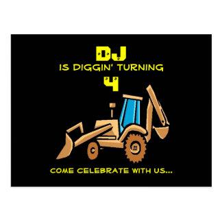 Tractor Birthday Invite Postcard