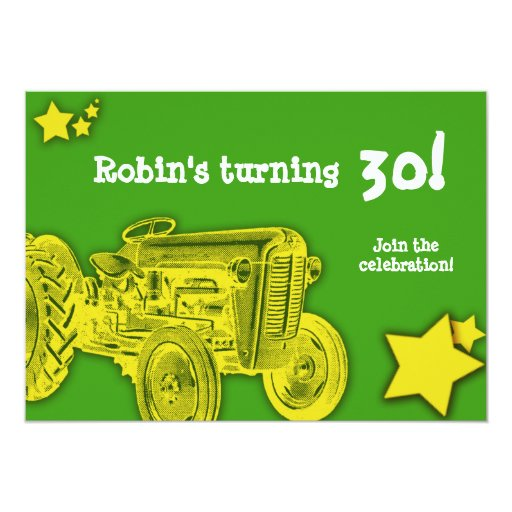 Tractor Birthday Party Invitation: Bright Yellow 13 Cm X 18 Cm Invitation Card