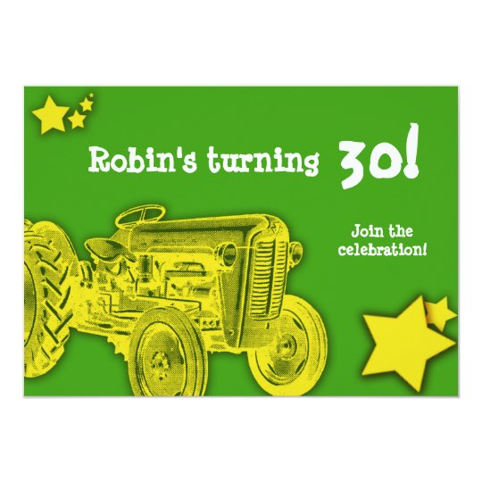 Tractor Birthday Party Invitation: Bright Yellow 13 Cm X 18 Cm Invitation Card