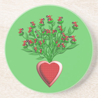 Tractor Bouquet with Red Heart Vase Coasters