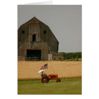 Tractor Card: Tractor, American Flag & Barn Greeting Card