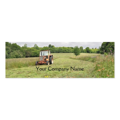 Tractor cutting hay agricultural business card