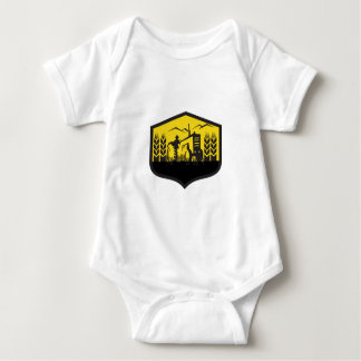Tractor Harvesting Wheat Farm Crest Retro Baby Bodysuit