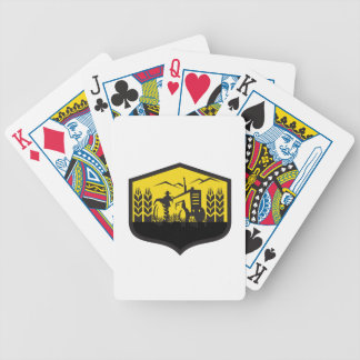 Tractor Harvesting Wheat Farm Crest Retro Bicycle Playing Cards