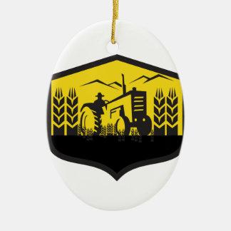 Tractor Harvesting Wheat Farm Crest Retro Ceramic Ornament