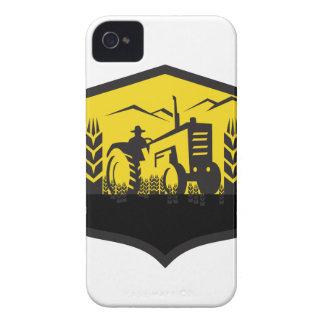 Tractor Harvesting Wheat Farm Crest Retro iPhone 4 Cases