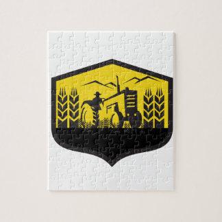 Tractor Harvesting Wheat Farm Crest Retro Jigsaw Puzzle