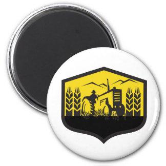 Tractor Harvesting Wheat Farm Crest Retro Magnet