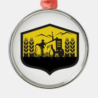 Tractor Harvesting Wheat Farm Crest Retro Metal Ornament