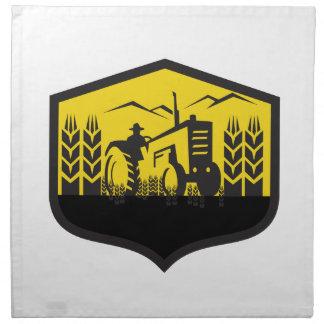 Tractor Harvesting Wheat Farm Crest Retro Napkin