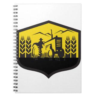 Tractor Harvesting Wheat Farm Crest Retro Notebooks