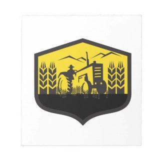 Tractor Harvesting Wheat Farm Crest Retro Notepad