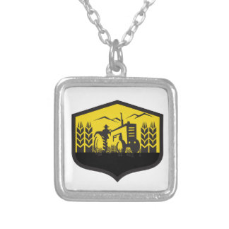 Tractor Harvesting Wheat Farm Crest Retro Silver Plated Necklace