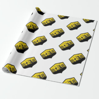 Tractor Harvesting Wheat Farm Crest Retro Wrapping Paper